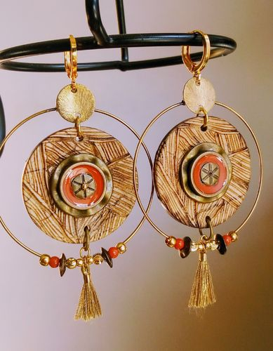 "Boucles ""Vana"" laiton et orange"